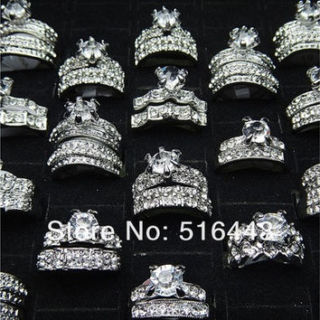 Jewelry 10pcs Fashion 2 in 1 Austria Cubic Zircon Rhinestones White Gold P Engagement Wedding Women Rings A-278 [7981087111]