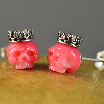 READY TO SHIP - Hand Carved Pink Coral Skulls Wearing Sterling Silver Crowns Stud Earrings - Skull Earrings - Coral Earrings - Anniversary