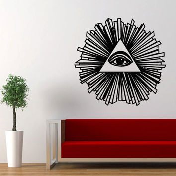 Wall decal decor decals art sticker all seeing eye annuit coeptis illuminati god triangle mason undertakings favorably (m760)