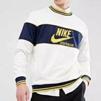 NIKE Fashion New Bust Letter Hook Print Contrast Color Women Men Long Sleeve Top Sweater White