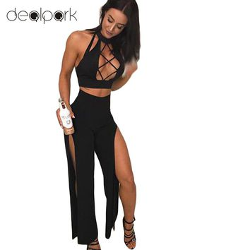 Sexy Women 2 Piece Set Outfits Turtleneck Sleeveless Crop Tops Hollow out High Split Clubwear Romper Jumpsuit female Suit Black