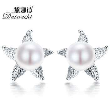 Dainashi Real 925 Silver Sea Star Earrings 8-9mm natural pearl Starfish Stud Earring for women fashion jewelry bijoux earring