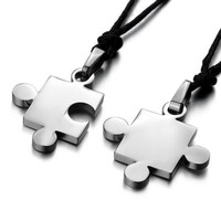 Men,Women's 2PCS Stainless Steel Pendant Necklace CZ Silver & Black & Blue Jigsaw Puzzle Love Valentine's Couples His & Hers = 1929600708