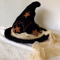 Witch Hat- Old World Witch- Primitive Witch Black Hat Tea Stained Cheesecloth Pip Berries Rusty Stars Halloween Imbolc Fashion