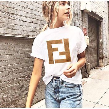 Fendi Tide brand men's and women's embroidered double F letter round neck half sleeve T-shirt
