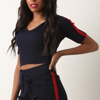 Ribbed Knit Side Stripe Hoodie Crop Top with Shorts Set