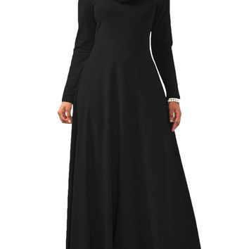 Ferbia Maxi Dresses for Women Black Fall Winter Turtleneck Long Sleeve Swing Dress Casual