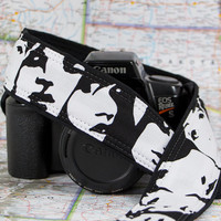 dSLR Camera Strap, Black and White, Faces, Portraits, Photo Booth, Pocket, SLR, Quick Release, Canon, Nikon, Camera Neck Strap, 148 ww