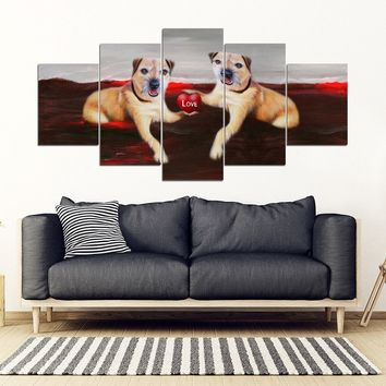 Border Terrier With Love heart Print-5 Piece Framed Canvas- Free Shipping