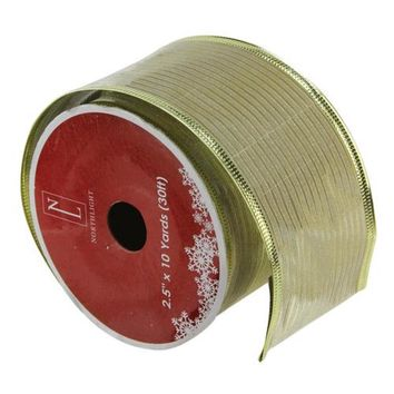 """Shimmery Gold Horizontal Wired Christmas Craft Ribbon 2.5"""" x 10 Yards"""
