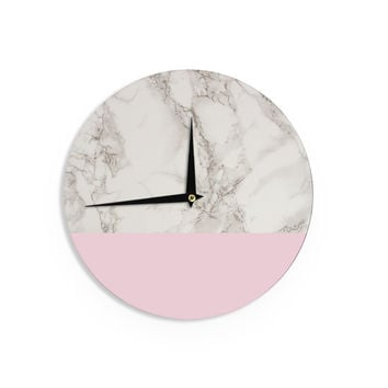"Suzanne Carter ""Marble And Pink Block"" Modern Contemporary Wall Clock"