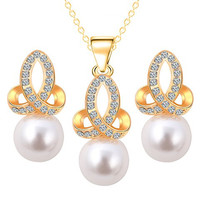 Rhinestone Faux Pearl Necklace and Earrings