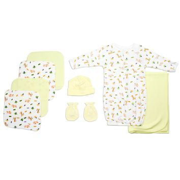 Bambini Neutral Newborn Baby 8 Pc Layette Baby Shower Gift Set  - Made in USA