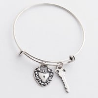 Padlock Heart and Key Charm Bangle, Silver Charm Bracelet, Key to My Heart Jewelry, 15 Dollar Gift for Her, Charm Jewelry, Heart Bracelet
