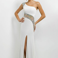 One Shoulder Gown with Sheer Beaded Back by Blush 9780