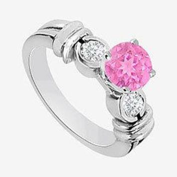 Pink Sapphire and Cubic Zirconia Engagement Ring in 14K White Gold 1.30 Carat TGW