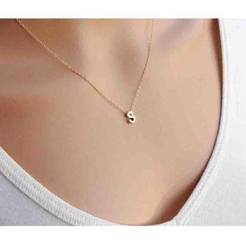 Custom Personalized A-Z Initial Letter Name Chain Necklace Charm jewelry Gold Silver Letter Chain Couple Necklace Love Gift