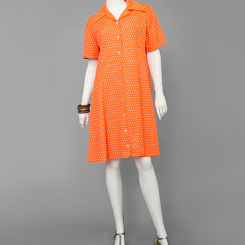 Vintage 70s Mod Shift Dress / 1970s Orange Polka Dot Shirt Dress / Knee Length Short Sleeve Button Up Hippie Dress / A Line Diner Dress M/L