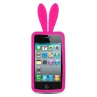 Hot Pink Bunny with Fur Tail Design Snap on Soft Silicon Skin Cover Case for Apple Ipod Touch Itouch 4 4g 4th Gen