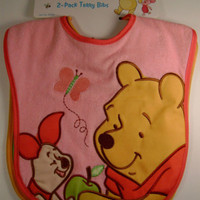 Disney 2 Pack Terry Bibs 0+ Months Winnie Pooh Pink Green Girls Embroidered NEW