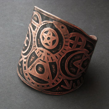 Alchemy Cuff - Etched Copper Cuff - Philosophers Stone - Occult symbols - Coat of Arms - Family Seal