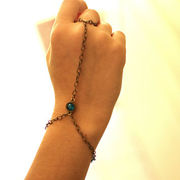 Slave Bracelet with Turquoise Charm by NativeLivingJewelry on Etsy