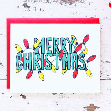 Merry Christmas Hand Lettered Christmas Lights Card - Holiday Card - Fun Christmas Card