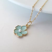 Mint Green Flower Necklace - Sakura Flower Necklace - 16k Gold Plated Over Brass - Cherry Blossom Floral Necklace