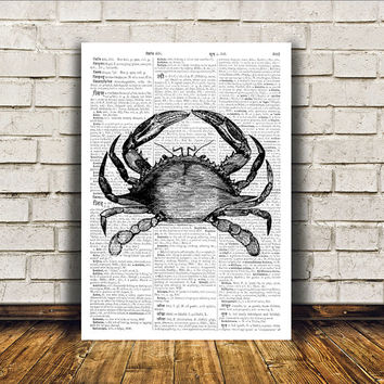 Crab poster Nautical art Dictionary print Modern decor RTA369