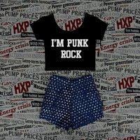 I'm punk rock Crop Top Ladies Short Sleeve Stretch T Shirt Tee