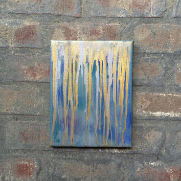Dripping in gold, gold and silver painting, shades of blue, abstract painting