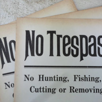 No Trespassing Sign, Antique, Ephemera, c. 1920s, Heavy Cardboard, Hunting, Fishing, Cabin, Lodge Decor, Man Cave, All Vintage Man