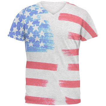 4th of July Color Me American Mens Soft V-Neck T Shirt