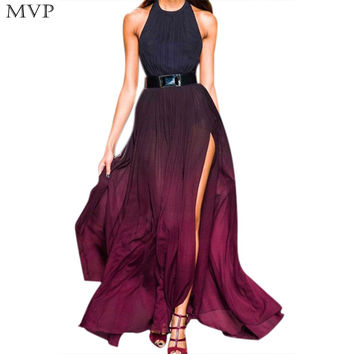 New 2016 Designs Prom Long Chiffon Dress Cross Halter Neck Gown Party Sexy Long Slit Dress Maxi Bohemian Dress
