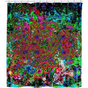 Neon Alien Blacklight Jungle Shower Curtain