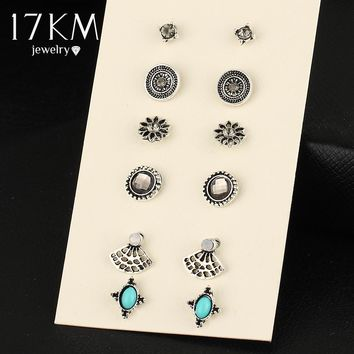 17KM New Arrival 6 PCS/Lot Natural Stone Crystal Stud Earrings Charming Retro Silver Color Earring Fashion Women Wedding Jewelry