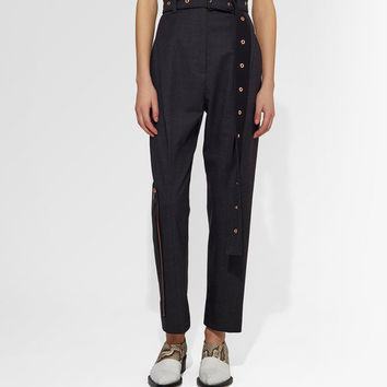 Proenza Schouler- Lightweight Wool Belted Straight Pant   Official Site