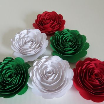 "Mexican American Wedding Decorations, 6 Large Red White Green Roses Italy Flag colors 3"" paper flowers, Pizza Shop Italian Restaurant decor"