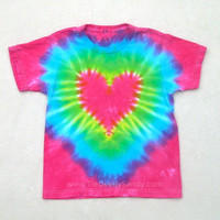 Child Small Tie Dye Shirt Hot Pink Heart- Valentine's Day gift for girl