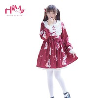 Christmas Lolita Woman's Red Dress Lace Up Bow Harajuku Long-Sleeve Kawaii Ruffles Dress Vintage Cute Rabbit White Cos Dresses