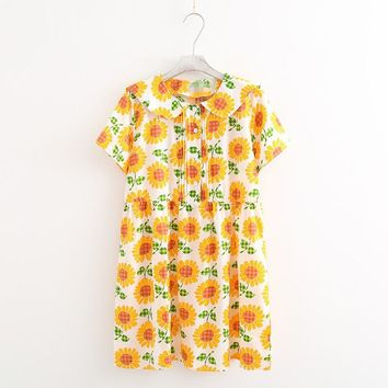 sweet sunflower big flower cotton sarong sailor collar short-sleeve loose one-piece dress