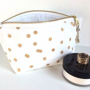 Brides Bag,Mini Cosmetic Bag, Small Makeup Bag, Small Zipper Pouch, Bridal Shower Gift,Polka Dot makeup Bag, White Makeup Bag