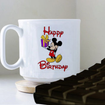 Mickey Mouse heppy birthday mug heppy mug coffee, mug tea, size 8,2 x 9,5 cm.