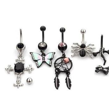 ac DCCKO2Q 2018 new arrival hot sale piercing nombril belly piercing body jewelry belly button rings helix 5 pieces set