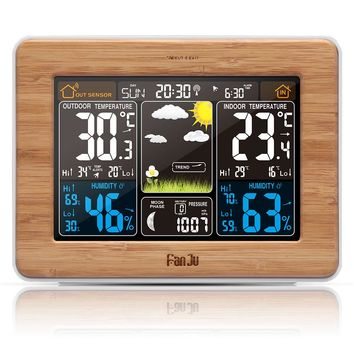Weather Station Color Weather Forecast Alert Temperature Humidity Barometer Alarm Clock Moon Phase