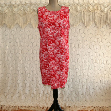 Womens Sleeveless Summer Dress Sundress Novelty Print Cotton Midi Red White Tropical Hawaiian XL 2X Size 16 Size 18 Plus Size Clothing