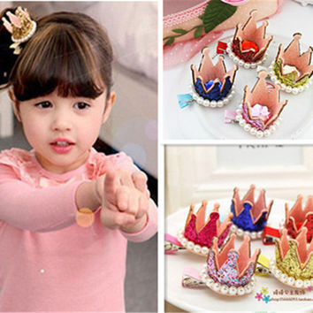 Princess Crown Hairpins Hair Accessories Resin Diamond Gliter Pearls Girls Tiaras Headwear Baby Xmas Dancing Party Hair Clip lq