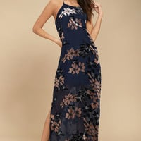 Moonflower Navy Blue Velvet Floral Print Maxi Dress