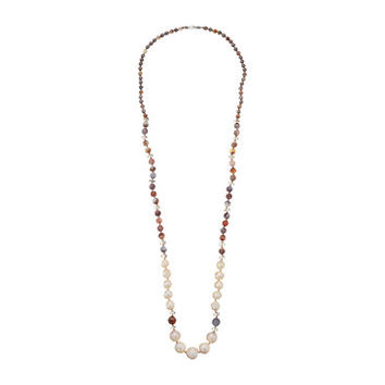 "Chan Luu 38"" Graduated Pearl and Semi Precious Stone Necklace Pink Mix - Zappos.com Free Shipping BOTH Ways"
