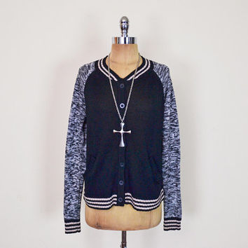 Vintage 90s Salt & Pepper Black Baseball Jersey Sleeve Bomber Jacket Style Cardigan Sweater Jumper 90s Cardigan Grunge Cardigan Women M L